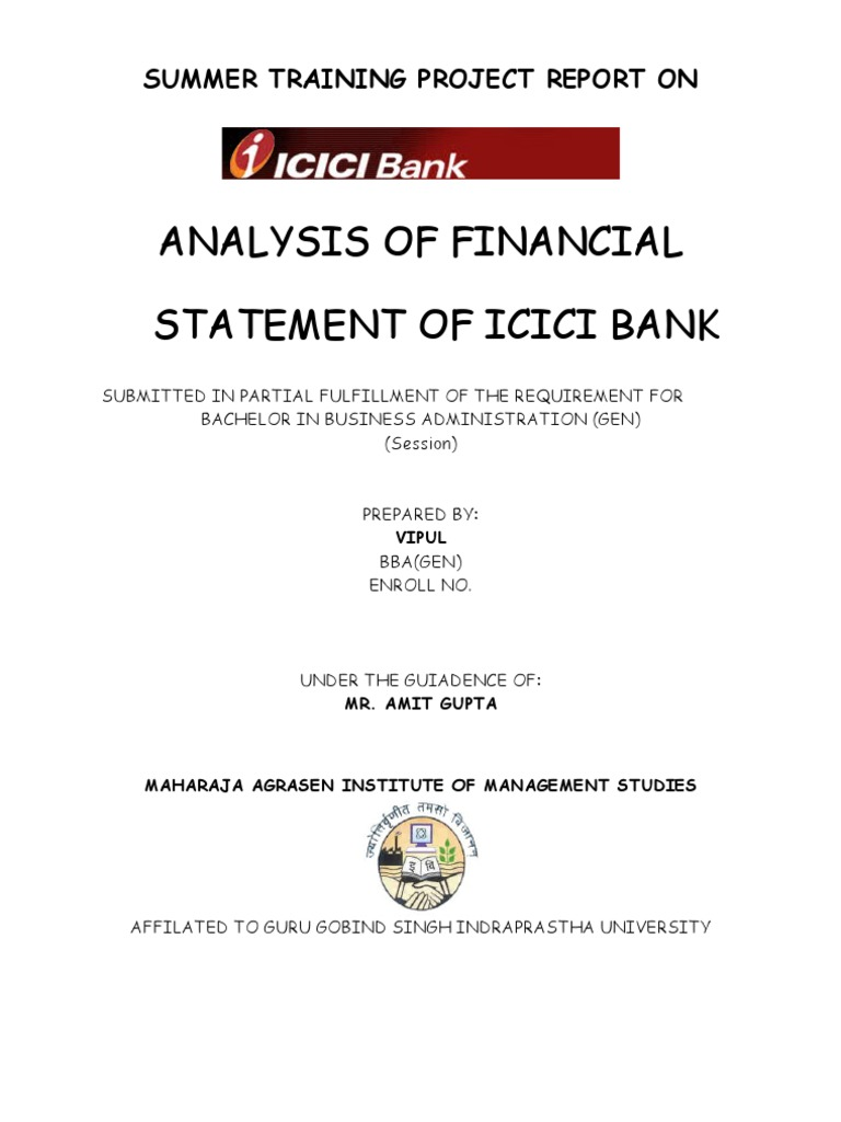 financial analysis of icici bank Financial performance analysis of pre and post merger in banking sector: a study with reference to icici bank ltd 241 editor@iaemecom.