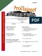 April 2014 Proclaimer Newsletter