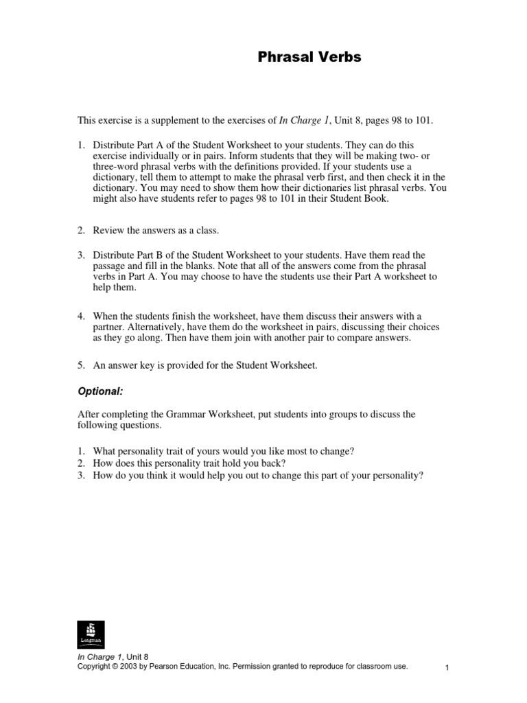 Phrasal Verbs Worksheet | Copyright | Psychology & Cognitive Science
