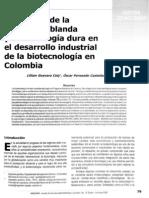 Incidencia de la tecnología blanda y la tecnología dura en desarrollo industrial de la biotecnología en Colombia