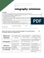 ART RUBRIC Minimiam- Digital Photography Editing
