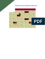 Calendario de Actividades de San Carlos en Abril 2014