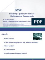 Delivering a Global SAP Instance Challenges and Achievements