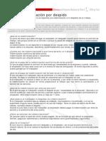 Ficha de Indemnización por despido en Chile