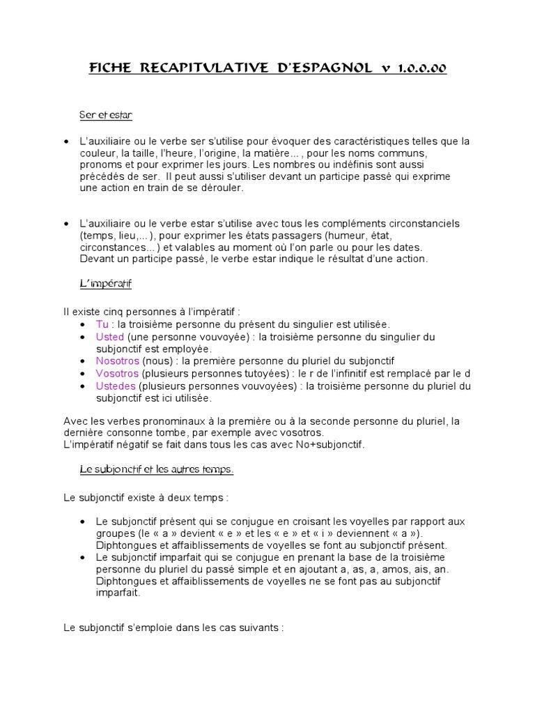 Espagnol Fiche Recapitulative Nombre Grammatical Verbe