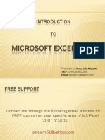 Introduction to Microsoft Excel 2007 & MS Excel 2010
