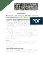 Convocatoria de artículos para la revista de Divulgación Científica y Tecnológica del Instituto Interdisciplinario de las Ciencias Volumen 1 Numero 9 de 2014