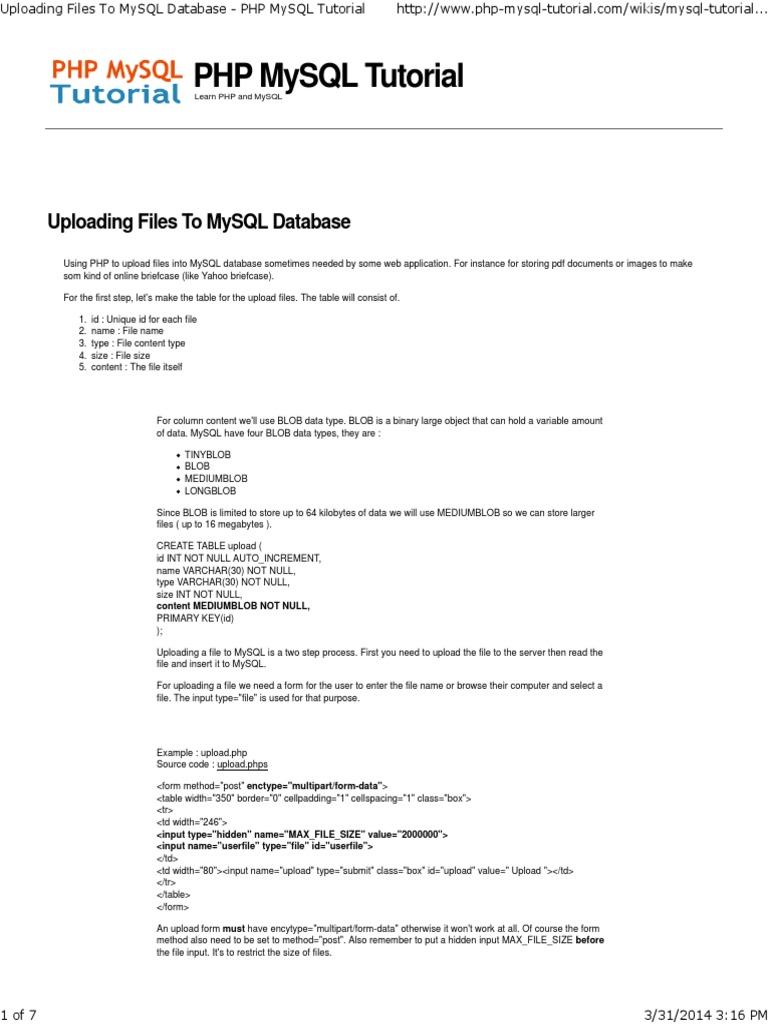 Uploading Files (PDF) to MySQL Database - PHP MySQL Tutorial