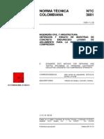 NTC 3801 Obtención y Ensayo de Muestras de Concreto Endurecido Liviano de Aislamiento para la Resistencia a la Compresión