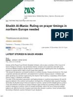 Sheikh Al-Manie_ Ruling on Prayer Timings in Northern Europe Needed