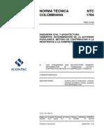 NTC 1784 Cementos. Determinación de la Actividad Puzolánica. Método de Contribución a la Resistencia a la Compresión