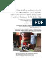 Características sociolaborales del no aseguramiento en salud de los TC de Medellin Revista Salud Pub Medellin Junio 2009