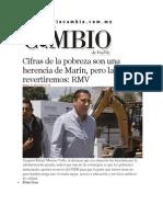 01-04-2014 Diario Matutino Cambio de Puebla - Cifras de la pobreza son una herencia de Marín, pero las revertiremos, RMV.
