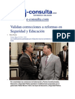 28-03-2014 e-consulta.com - Validan correcciones a reformas en Seguridad y Educación.