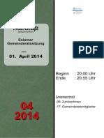 Eslarner Gemeinderatssitzungen - Mitschrift vom 01.04.2014