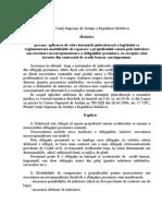 Hotărîrea  nr.9 din 24.12.10 privind aplicarea legislaţiei de reglementează modalităţile de reparare a prejudiciului