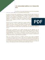 Papel que tiene la universidad pública en el desarrollo universal en México