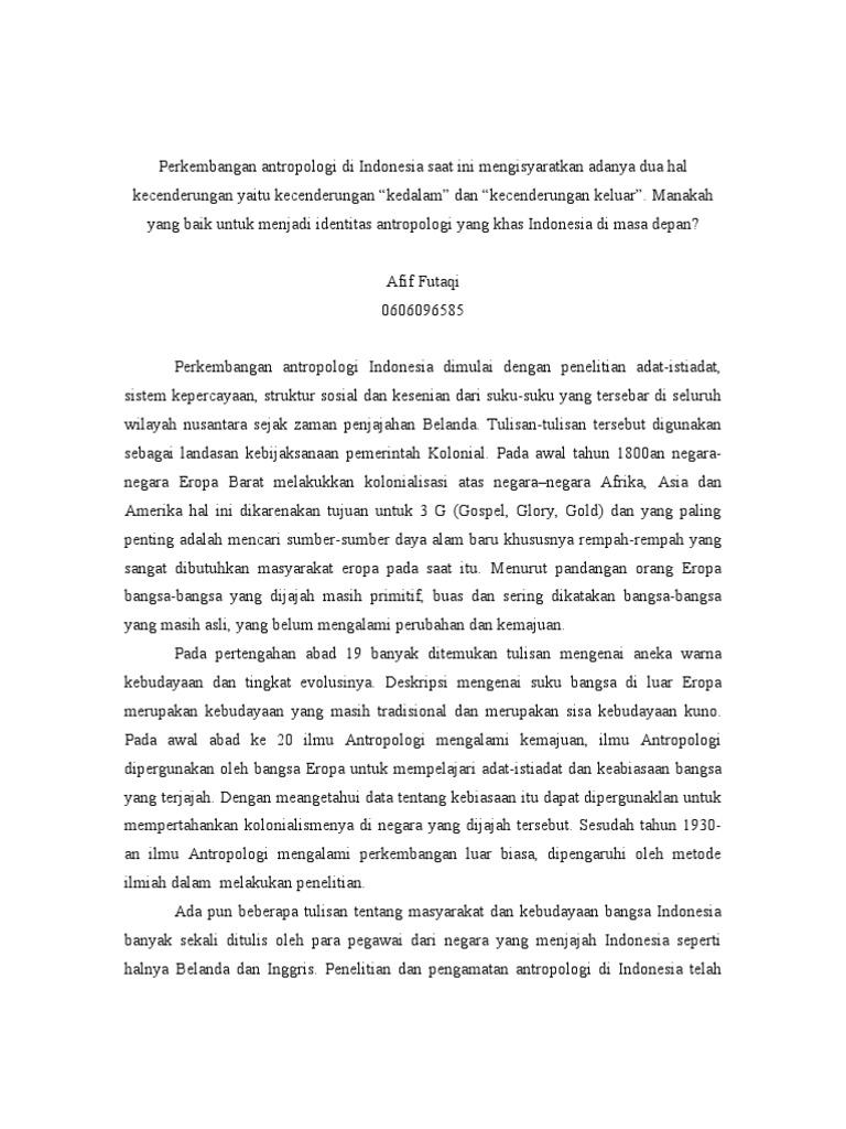 Perkembangan Antropologi Di Indonesia Pdf