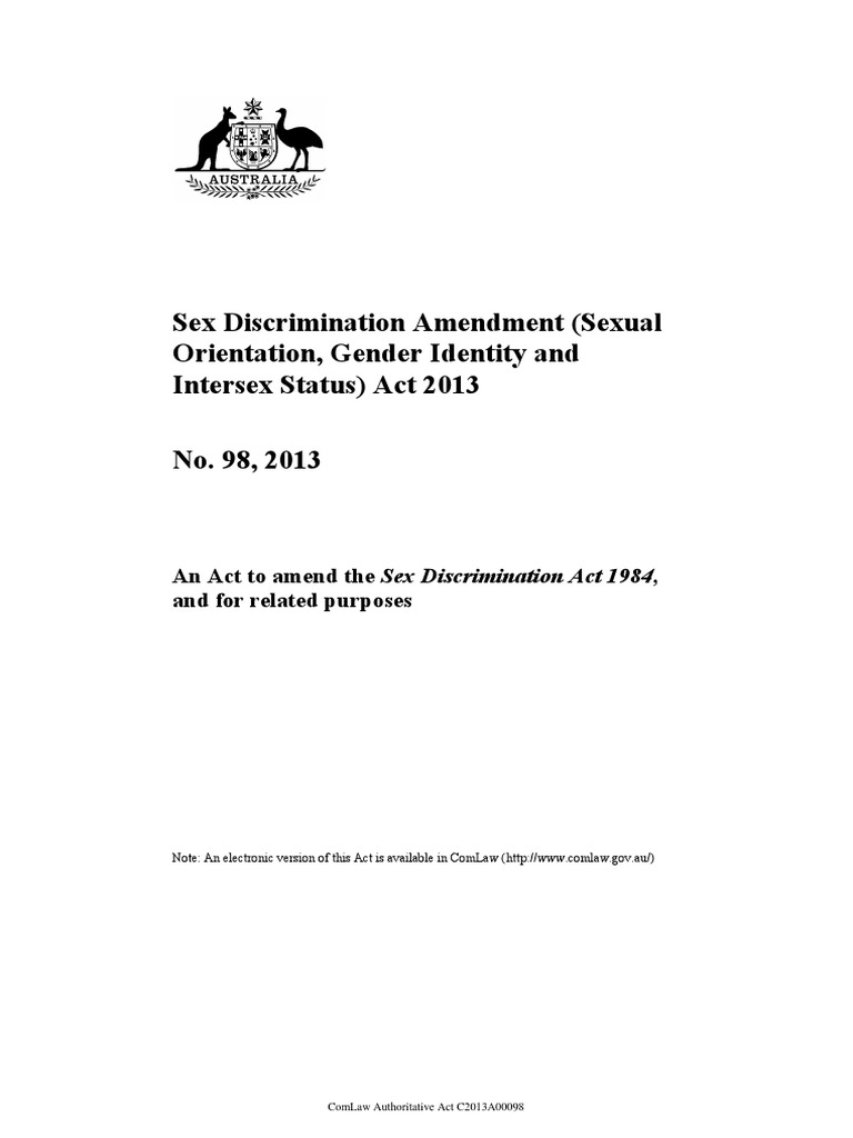 Amendments to sex discrimination act