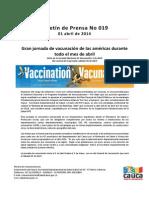 Boletín 019_Gran jornada de vacunación de las américas durante todo el mes de abril