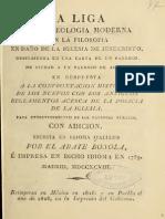 La Liga de La Teologia Moderna Con La Filosofia El Dano de La Iglesia de Jesu Christo.. (1828)