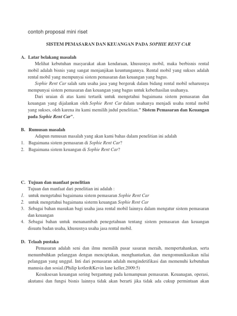 Contoh Proposal Skripsi Pemasaran Pdf