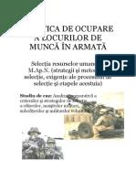 Politica de ocupare a locurilor de munca in Armata Romaniei