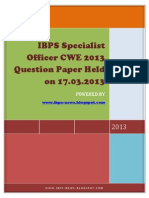 IBPS Specialist Officer CWE 2013 Question Paper Held on 17.03.2013- Www.ibps-NEWS.blogspot.com