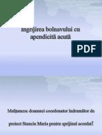 Ingrijirea Bolnavului Cu Apendicita Acuta ( 2003)