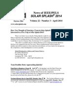 2014 Splash Newsletter #3 AprNews of  IEEE/PELS SOLAR SPLASH® 2014 2014