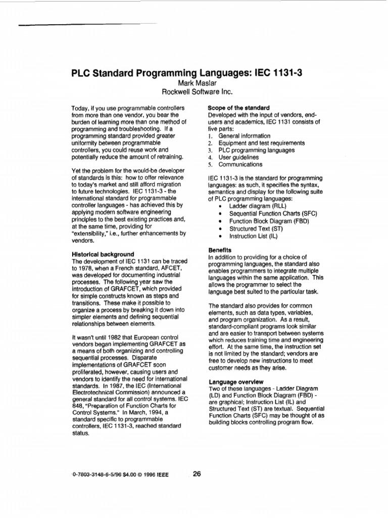 Iec 1131 3 Lenguajes de Programacion Plc   Programmable Logic
