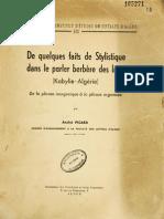De quelques faits de stylistique dans le parler berbère des Irjen (Kabylie-Algérie) - André Picard 1960