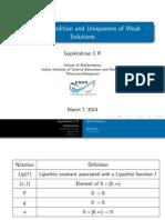 Uniqueness of weak solutions for Lax Oleinik Forumla