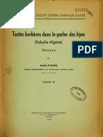 Textes berbères dans le parler des Irjen (Kabylie-Algérie) Tome II Glossaire - André Picard 1958
