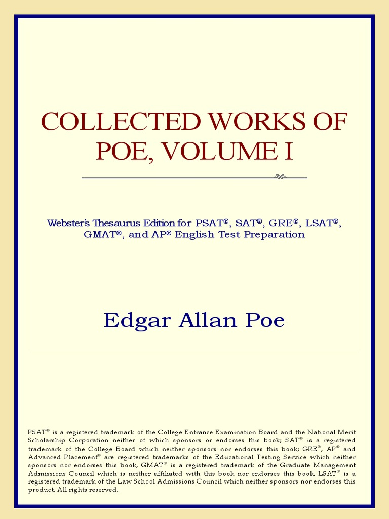Edgar Allan Poe Collected Works Of Poe Volume I Websters
