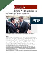 31-01-2014 Milenio.com - Rafael Moreno Valle respalda la reforma político electoral.