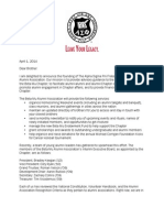 Beta Mu Chapter Alumni Association Letter