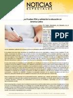 Resultados en las Pruebas PISA y calidad de la educación en América Latina