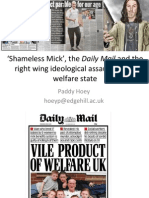 """""""'Shameless Mick', the Daily Mail and the right wing ideological assault on the welfare state"""" by Dr Paddy Hoey"""