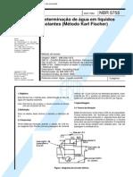 NBR 5755 (Dez 1984) - Determinação de água em líquidos isolantes (Método Karl Fischer)