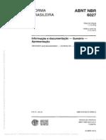 NBR 6027 (Dez 2012) - Informação e documentação - Sumário - Apresentação