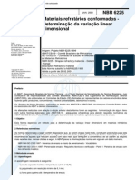 NBR 6225 (Jan 2001) - Materiais refratários conformados - Determinação da variação linear dimensional