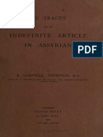 Thompson, R. Campbell - On Traces of an Indefinite Article in Assyrian (1902)