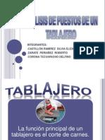 ANÁLISIS DE PUESTOS DE UN TABLAJERO
