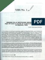 ORÍGENES DE LA INSTITUCIÓN UNIVERSITARIA – CARLOS TÜNNERMANN BERHEIM