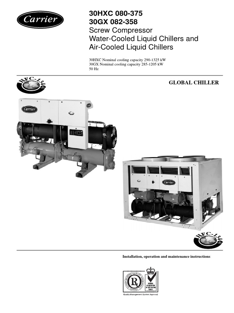 installation operation maintenance instructions 30 hxc pdf air rh pt scribd com 30GX Carrier Chiller Manual Carrier Water Cooled Chiller