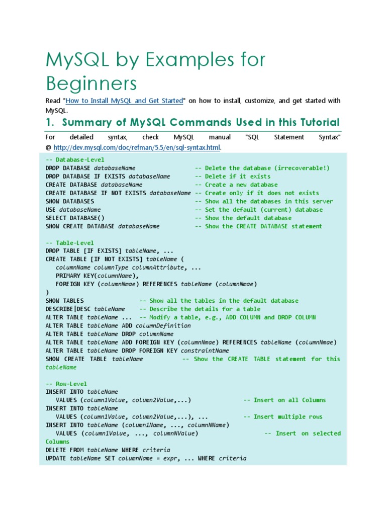 Mysql By Examples For Beginners Areas Of Computer Science
