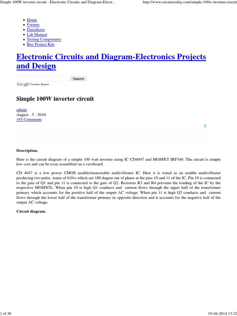 Cd4047 Inverter Power Electronic Circuits Circuit Diagram For Simple Projects