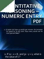 Quantitative Reasoning - Numeric Entry
