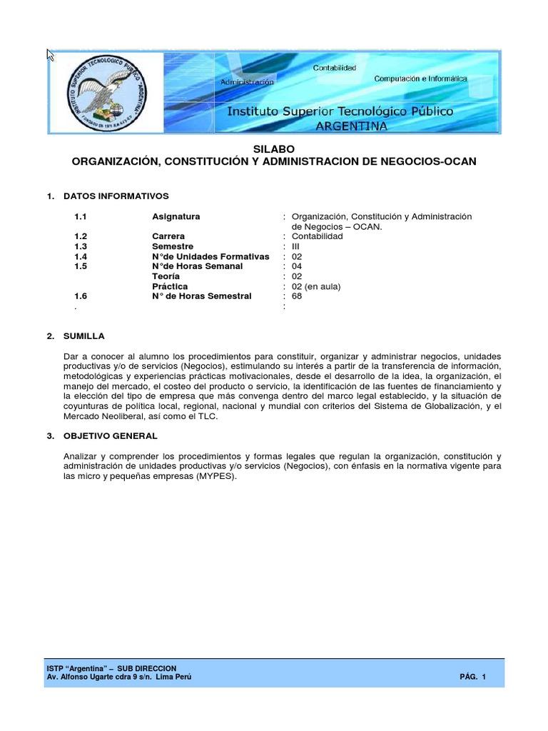 Silabo Organizacion y Constitucion de Empresas